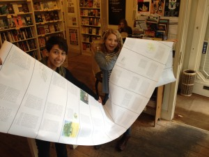 Jess & I with a partially unravelled print draft